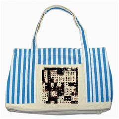 Abstract city landscape Striped Blue Tote Bag