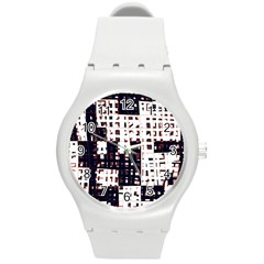 Abstract city landscape Round Plastic Sport Watch (M)