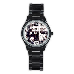 Abstract city landscape Stainless Steel Round Watch