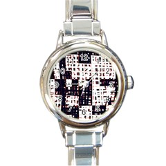 Abstract city landscape Round Italian Charm Watch