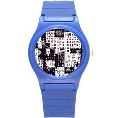 Abstract city landscape Round Plastic Sport Watch (S)