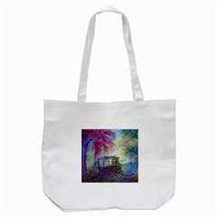 Bench In Spring Forest Tote Bag (White)