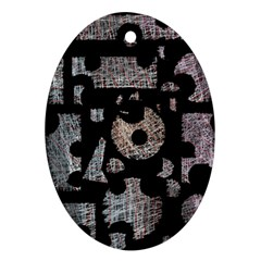 Elegant puzzle Oval Ornament (Two Sides)