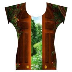 Beautiful World Entry Door Fantasy Women s Cap Sleeve Top