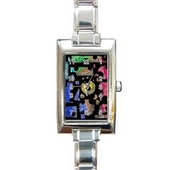 Colorful puzzle Rectangle Italian Charm Watch