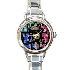 Colorful puzzle Round Italian Charm Watch