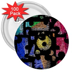 Colorful puzzle 3  Buttons (100 pack)