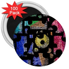 Colorful puzzle 3  Magnets (100 pack)