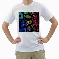 Colorful puzzle Men s T-Shirt (White) (Two Sided)