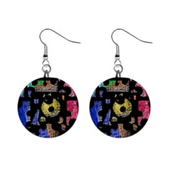 Colorful Puzzle Mini Button Earrings