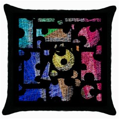 Colorful puzzle Throw Pillow Case (Black)