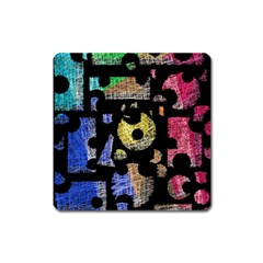 Colorful puzzle Square Magnet