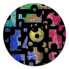 Colorful Puzzle Magnet 5  (round)