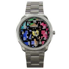 Colorful puzzle Sport Metal Watch