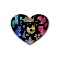 Colorful puzzle Rubber Coaster (Heart)