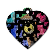 Colorful puzzle Dog Tag Heart (Two Sides)