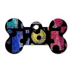Colorful puzzle Dog Tag Bone (One Side)