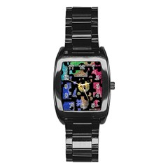 Colorful puzzle Stainless Steel Barrel Watch