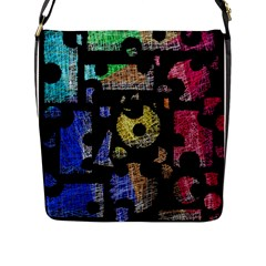 Colorful puzzle Flap Messenger Bag (L)