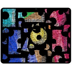 Colorful puzzle Double Sided Fleece Blanket (Medium)