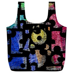 Colorful puzzle Full Print Recycle Bags (L)