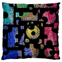 Colorful puzzle Large Flano Cushion Case (Two Sides)