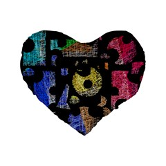Colorful puzzle Standard 16  Premium Flano Heart Shape Cushions