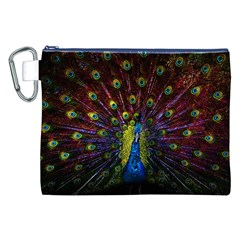 Beautiful Peacock Feather Canvas Cosmetic Bag (XXL)