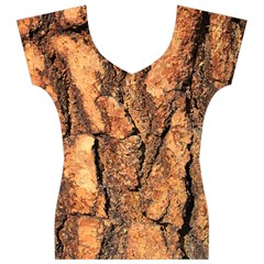 Bark Texture Wood Large Rough Red Wood Women s V-Neck Cap Sleeve Top