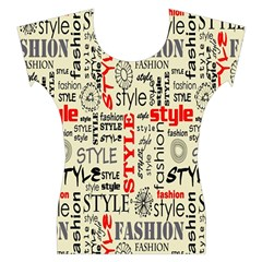 Backdrop Style With Texture And Typography Fashion Style Women s Cap Sleeve Top