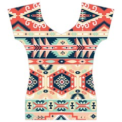 Aztec Pattern Women s V-Neck Cap Sleeve Top