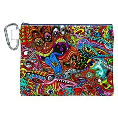 Art Color Dark Detail Monsters Psychedelic Canvas Cosmetic Bag (XXL)