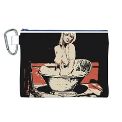 23 Sexy Conte Sketch Girl In Dark Room Naked Boobs Bathing Country Canvas Cosmetic Bag (L)