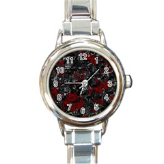 Gray and red decorative art Round Italian Charm Watch