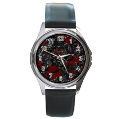 Gray and red decorative art Round Metal Watch