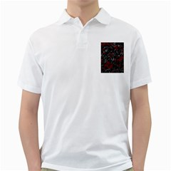 Gray and red decorative art Golf Shirts