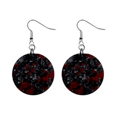 Gray and red decorative art Mini Button Earrings