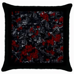 Gray and red decorative art Throw Pillow Case (Black)