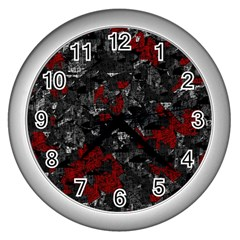 Gray and red decorative art Wall Clocks (Silver)