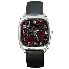 Gray and red decorative art Square Metal Watch