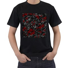 Gray and red decorative art Men s T-Shirt (Black) (Two Sided)