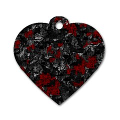 Gray and red decorative art Dog Tag Heart (One Side)