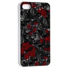 Gray and red decorative art Apple iPhone 4/4s Seamless Case (White)