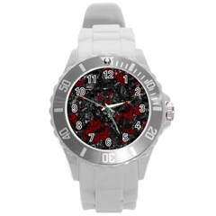 Gray and red decorative art Round Plastic Sport Watch (L)