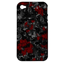 Gray and red decorative art Apple iPhone 4/4S Hardshell Case (PC+Silicone)