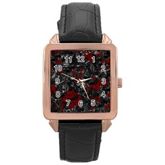 Gray and red decorative art Rose Gold Leather Watch