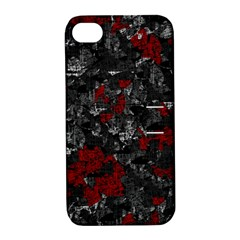 Gray and red decorative art Apple iPhone 4/4S Hardshell Case with Stand
