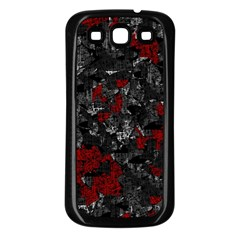 Gray and red decorative art Samsung Galaxy S3 Back Case (Black)