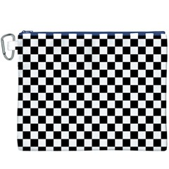 Black And White Checkerboard Pattern Canvas Cosmetic Bag (XXXL)