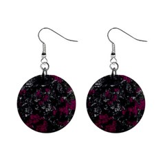 Magenta And Gray Decorative Art Mini Button Earrings